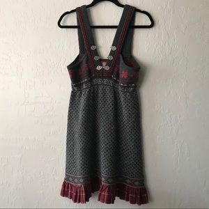 Free People Nordic fair Isle sweater dress gray